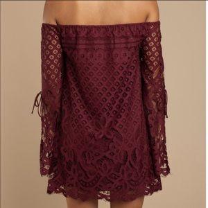 Tobi Maroon Lace Off-Shoulder Dress